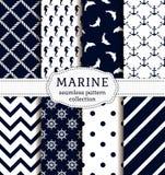 Sea and nautical patterns set. Stock Image