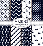 Sea and nautical patterns set. Stock Images