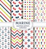 Sea and nautical patterns set. Royalty Free Stock Photos