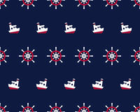 Sea and nautical seamless pattern with ship and Stock Photos