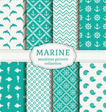 Sea and nautical seamless patterns set. Set of sea and nautical backgrounds in blue and white colors. Sea theme. Seamless patterns collection. Vector Royalty Free Stock Photo