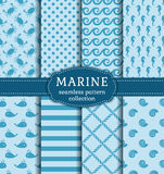 Sea and nautical seamless patterns set. Set of marine and nautical backgrounds in blue colors. Sea theme. Seamless patterns collection. Vector illustration Stock Photography