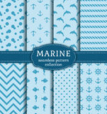 Sea and nautical seamless patterns set. Set of marine and nautical backgrounds in blue colors. Sea theme. Seamless patterns collection. Vector illustration Royalty Free Stock Image