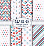 Sea and nautical seamless patterns set. Set of marine and nautical backgrounds in blue, red and white colors. Sea theme. Cute seamless patterns collection Royalty Free Stock Photos