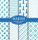 Sea and nautical seamless patterns set. Stock Image