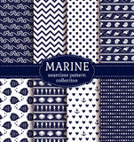 Sea and nautical seamless patterns set. Royalty Free Stock Image