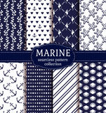 Sea and nautical seamless patterns set. Set of marine and nautical backgrounds in navy blue and white colors. Sea theme. Seamless patterns collection. Vector Stock Images