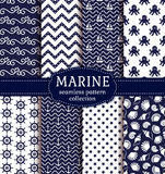 Sea and nautical seamless patterns set. Set of marine and nautical backgrounds in navy blue and white colors. Sea theme. Seamless patterns collection. Vector Stock Photography