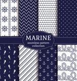Sea and nautical seamless patterns set. Royalty Free Stock Photos