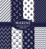 Sea and nautical seamless patterns set. Stock Photo
