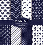 Sea and nautical seamless patterns set. Stock Photos