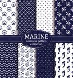 Sea and nautical seamless patterns set. Royalty Free Stock Image