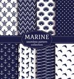 Sea and nautical seamless patterns set. Stock Photography