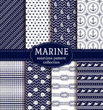 Sea and nautical seamless patterns set. Set of marine and nautical backgrounds in navy blue and white colors. Sea theme. Elagant seamless patterns collection Stock Photos