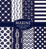Sea and nautical seamless patterns set. Set of marine and nautical backgrounds in navy blue and white colors. Sea theme. Elegant seamless patterns. Vector Stock Photos