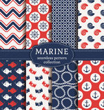 Sea and nautical seamless patterns set. Set of marine and nautical backgrounds. Sea theme. Seamless patterns collection. Vector illustration Stock Image