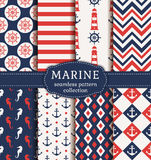 Sea and nautical seamless patterns set. Royalty Free Stock Photos