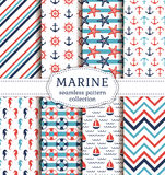 Sea and nautical seamless patterns set. Set of marine and nautical backgrounds. Sea theme. Seamless patterns collection. Vector illustration Royalty Free Stock Photography