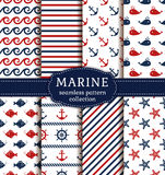 Sea and nautical seamless patterns set. Set of marine and nautical backgrounds. Sea theme. Seamless patterns collection. Vector illustration Royalty Free Stock Photos