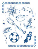 Sea and nautical symbols Royalty Free Stock Photos