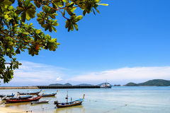 Sea near bridge pier at Laem Panwa Cape in Phuket, Thailand Royalty Free Stock Images