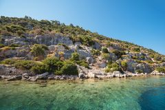 Ancient city on the Kekova Royalty Free Stock Image