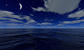 The sea by night. A computer generated image of a sea by night with the moon and the stars in the sky vector illustration
