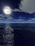 The sea by night. A computer generated image of a sea by night with the moon and the stars in the sky stock illustration