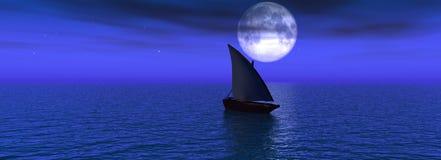 Sea night. The Panorama of night sea. The Illustration 3D Stock Photography