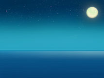 Sea at night with full moon. Stock Image