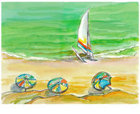The sea, no.2. Hand painted picture, view at the sea Royalty Free Stock Photography
