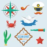 Sea objects collection. Vector illustration. Royalty Free Stock Photo