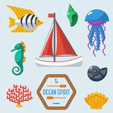 Sea objects collection. Vector illustration. Stock Image