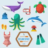Sea objects collection.Vector illustration. Royalty Free Stock Photos