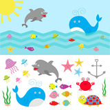 Sea ocean animal fauna set. Fish, whale,dolphin, turtle, star, crab, jellyfish, anchor, seaweed, waves Cute cartoon character coll Royalty Free Stock Photos