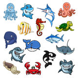 Sea and ocean animals, fish cartoon icons. Cartoon sea animals, ocean fishes. Vector isolated icons of dolphin, whale and shark, octopus and squid, cachalot and Royalty Free Stock Images