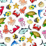 Sea, ocean animals, fish seamless cartoon pattern. Cartoon seamless pattern of sea and ocean animals, fishes. Vector colorful icons of whale, dolphin, clown fish Royalty Free Stock Photography