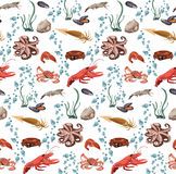 Sea And Ocean Animals Seamless Pattern Royalty Free Stock Photography