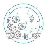 Sea and ocean banner with fish, sea horse and corals in line style isolated on white background. Outline underwater wild life or aquarium with animals Royalty Free Stock Images