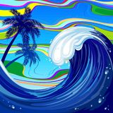 Sea Ocean big Wave Summer Abstract Vector Illustration royalty free stock photo