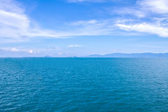 Sea Ocean Blue With Surface Calm  And Blue Sky Background Royalty Free Stock Image