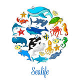 Sea ocean cartoon animals, fishes vector poster Royalty Free Stock Photo