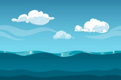 Sea or ocean cartoon landscape with sky and clouds. Seamless water waves background for computer game design. Landscape with water waves and cloud vector royalty free illustration