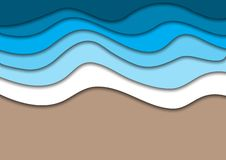 Sea or ocean coast beach with water waves and sand abstract background. Horizontal banner template with place for text. Summer vacation concept. Paper cut out stock illustration