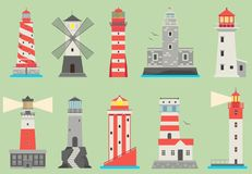 Sea and ocean flat vector lighthouses searchlight towers for maritime navigation guidance ocean and sea beacon light. Tower light house travel sailing signal stock illustration