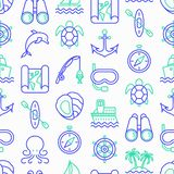Sea and ocean journey seamless pattern royalty free illustration