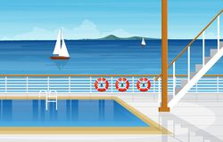 Free Sea Ocean Landscape Swimming Pool On Cruise Ship Deck Illustration Stock Images - 177710204