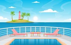 Free Sea Ocean Landscape Swimming Pool On Cruise Ship Deck Illustration Stock Photo - 177711290
