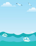 Sea or ocean landscape. With yachts, seagulls and clouds stock illustration