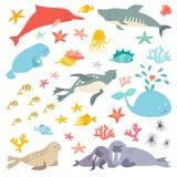 Sea and ocean life set, flat cartoon vector illustration.  Royalty Free Stock Photos